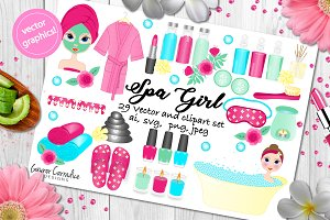 Spa girl vector & clipart set