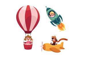 Kids, children flying in aircrafts - plane, rocket, hot air balloon