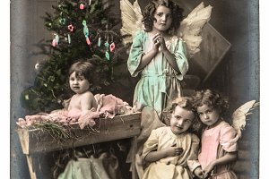 Kids With White Angels Wings