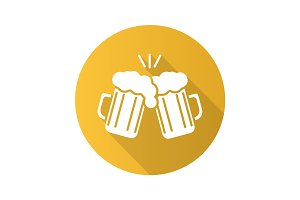 Toasting beer glasses. Flat design long shadow icon