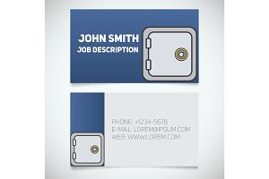 Business card print template with bank vault logo