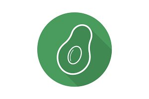 Avocado flat linear long shadow icon