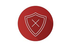 Security flat linear long shadow icon