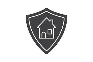 Real estate security glyph icon