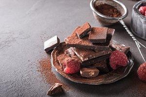 Broken chocolate pieces