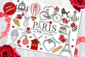 Paris love vector & clipart set