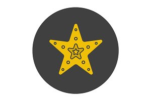 Sea star glyph color icon