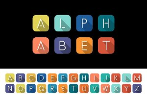 Colorful minimalistic flat alphabet