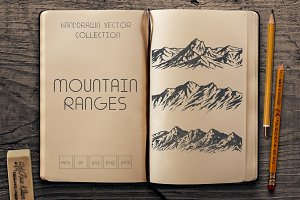 Set of mountain range silhouettes
