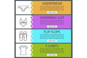 Woman's clothes web banner templates set