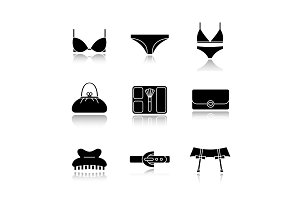 Women's accessories drop shadow black icons set