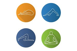 Yoga asanas flat linear long shadow icons set