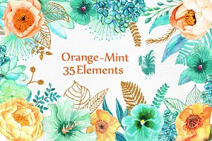 Orange Mint flowers clip art