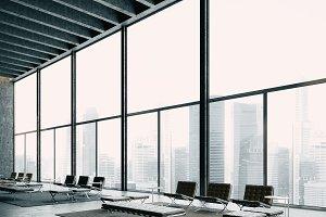 Modern lounge zone with big windows. 3d render