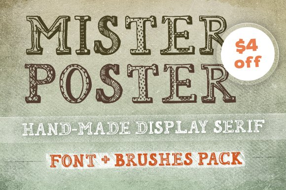 [$4 off] 'Mr Poster' Font + Brushes