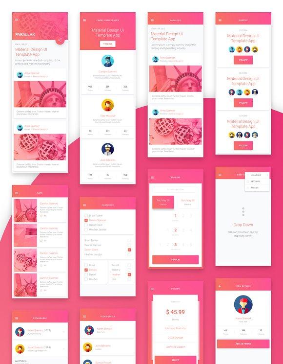 material design mobile ui kit web elements creative market
