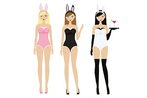 Sexy women in bunny costumes