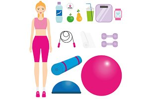 Woman fitness kit. Sport Icons