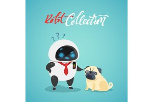 Character cute in flat style. Funny cartoon robot and dog