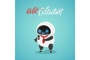 Character cute in flat style. Funny cartoon robot with phone