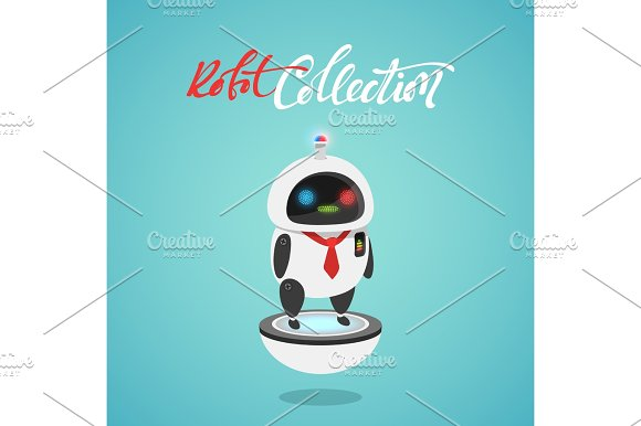 Character Cute In Flat Style Funny Cartoon Robot First Aid Police