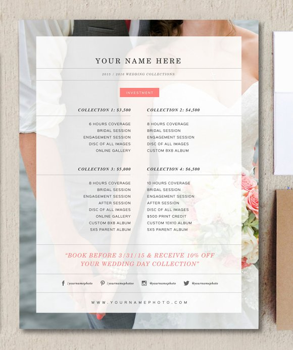 wedding photographer price list flyer templates creative market