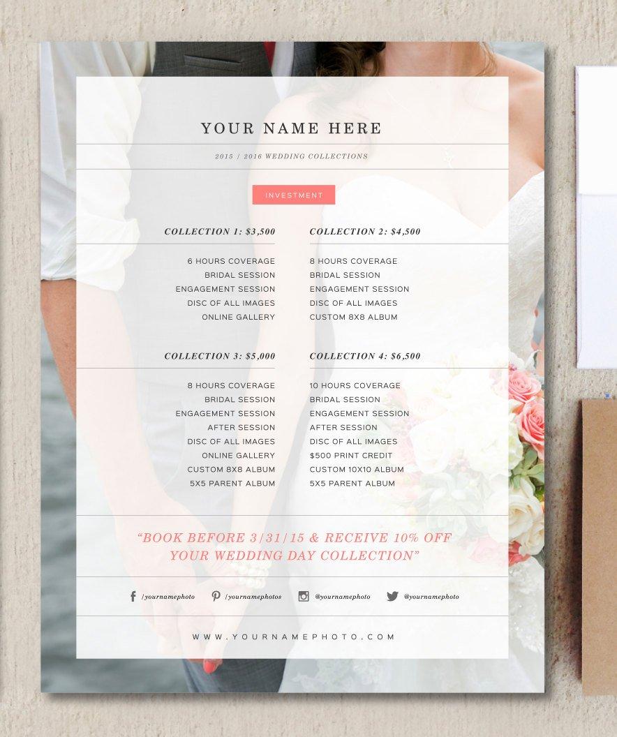 Wedding Photographer Price List Flyer Templates Creative Market