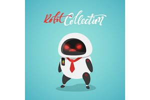 Character cute in flat style. Evil funny cartoon robot