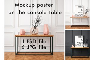 Poster on the console table