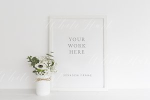 White floral frame mock up