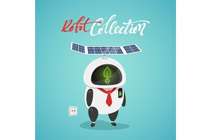 Character cute in flat style. Funny cartoon robot concept eco powered by solar panels