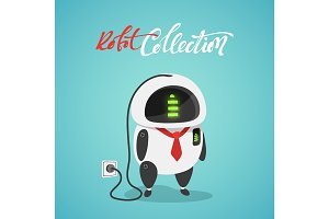 Character cute in flat style. Funny cartoon robot concept of power from a stationary outlet