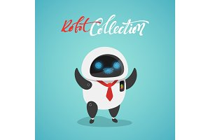 Character cute in flat style. Funny cartoon robot