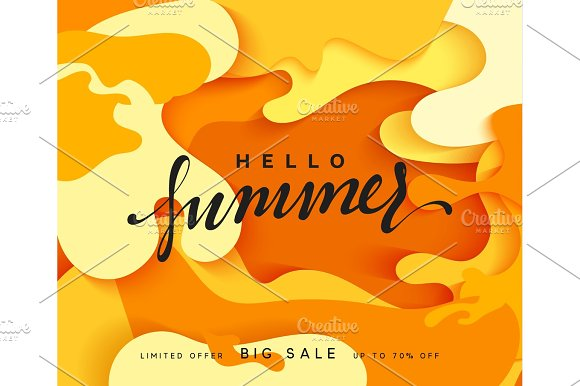 Hello Summer banner. Melted 3D colorful background in style paper art illustration