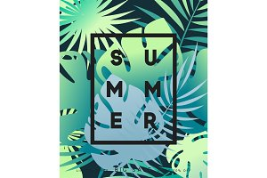 Summer banner tropical background.