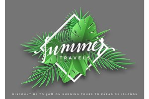 Travels Summer banner tropical background.