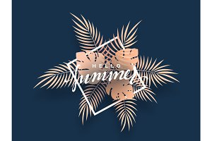 Hello Summer banner tropical background.