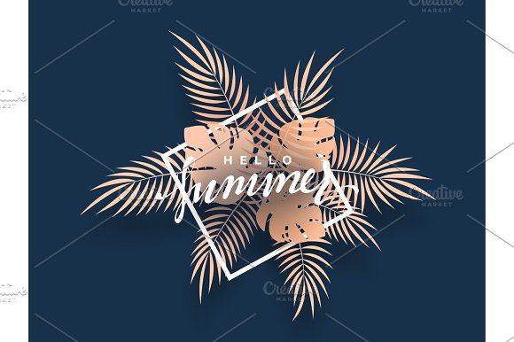 Hello Summer banner tropical background. in Illustrations