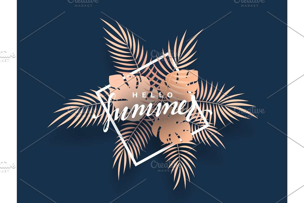 Hello Summer banner tropical background. in Illustrations - product preview 8