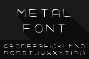 Metal font. Iron english alphabet
