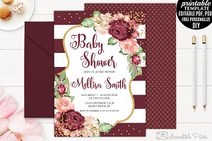 Bohemian Baby Shower Invitation