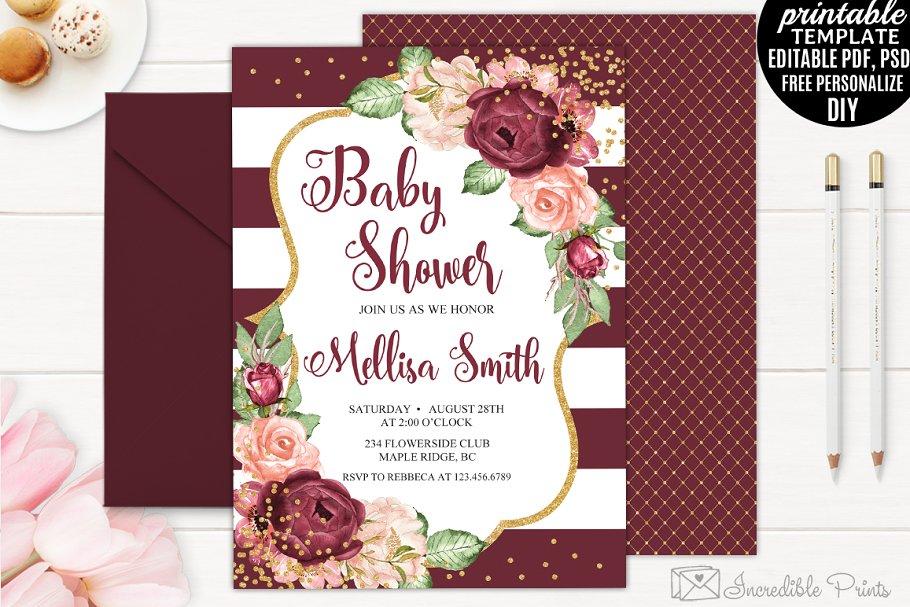 Bohemian Baby Shower Invitation