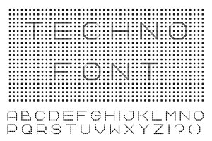 Dotted font - digital techno design