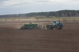 Spring agricultural - tractor sowing crops at field