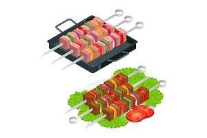 Barbecue design elements. Grill summer food. Picnic cooking device. Flat 3d isometric illustration. Family weekend. BBQ is both a cooking method and an apparatus.