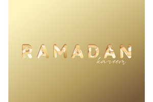 Beautiful lettering Ramadan Kareem on a gold background. Holy month of Ramadan
