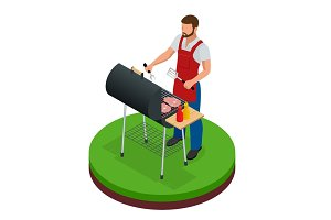 Male preparing barbecue outdoors. Grill summer food. Picnic cooking device. Flat 3d isometric illustration. Family weekend. BBQ is both a cooking method and an apparatus.