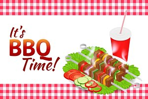 Barbecue party horizontal banner. Grill summer food. Picnic cooking device. Flat 3d isometric illustration. Family weekend. BBQ is both a cooking method and an apparatus.