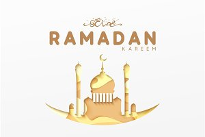 Ramadan greeting card with arabic calligraphy Ramadan Kareem.