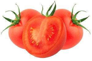 Two tomatoes and half isolated